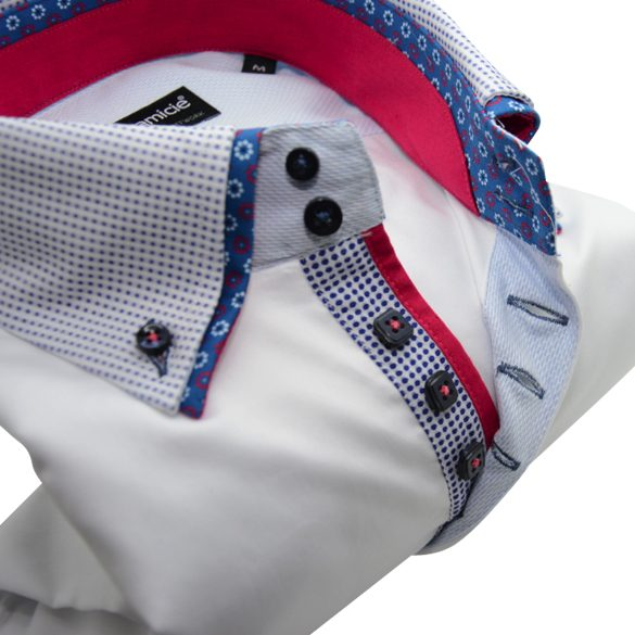 Men's white shirt blue spot collar and cuffs red trim upclose
