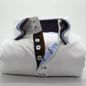 Men's white slim fit shirt with brown and light blue triple front