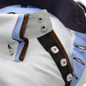 Men's white slim fit shirt with brown and light blue triple upclose