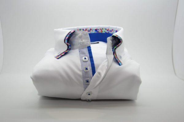 Men's white slim fit shirt multicolour pattern double collar front