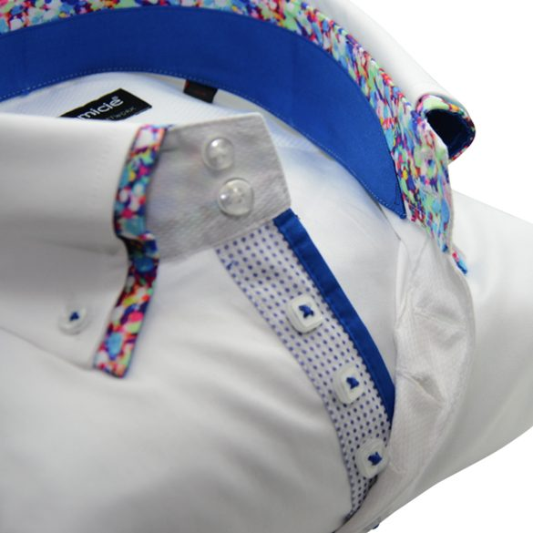Men's white slim fit shirt multicolour pattern double collar upclose
