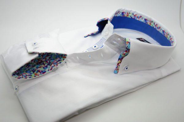 Men's white slim fit shirt multicolour pattern double collar cuff