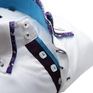 Men's white slim fit shirt purple flower double upclose
