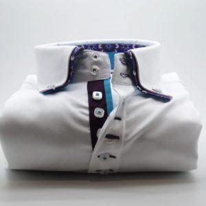 Men's white slim fit shirt purple flower double front