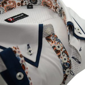 Men's white short sleeve shirt navy double collar upclose