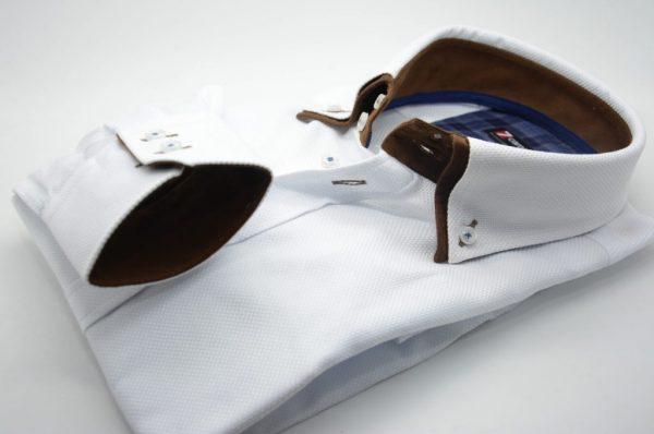 Men's white textured cotton shirt brown double collar cuff