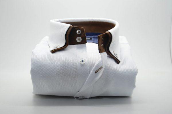 Men's white textured cotton shirt brown double collar front