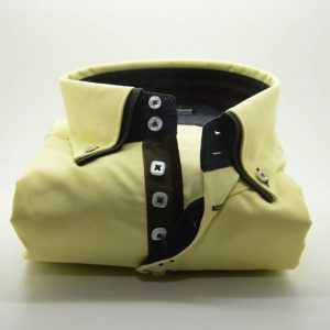 Men's yellow slim fit shirt with black double collar front