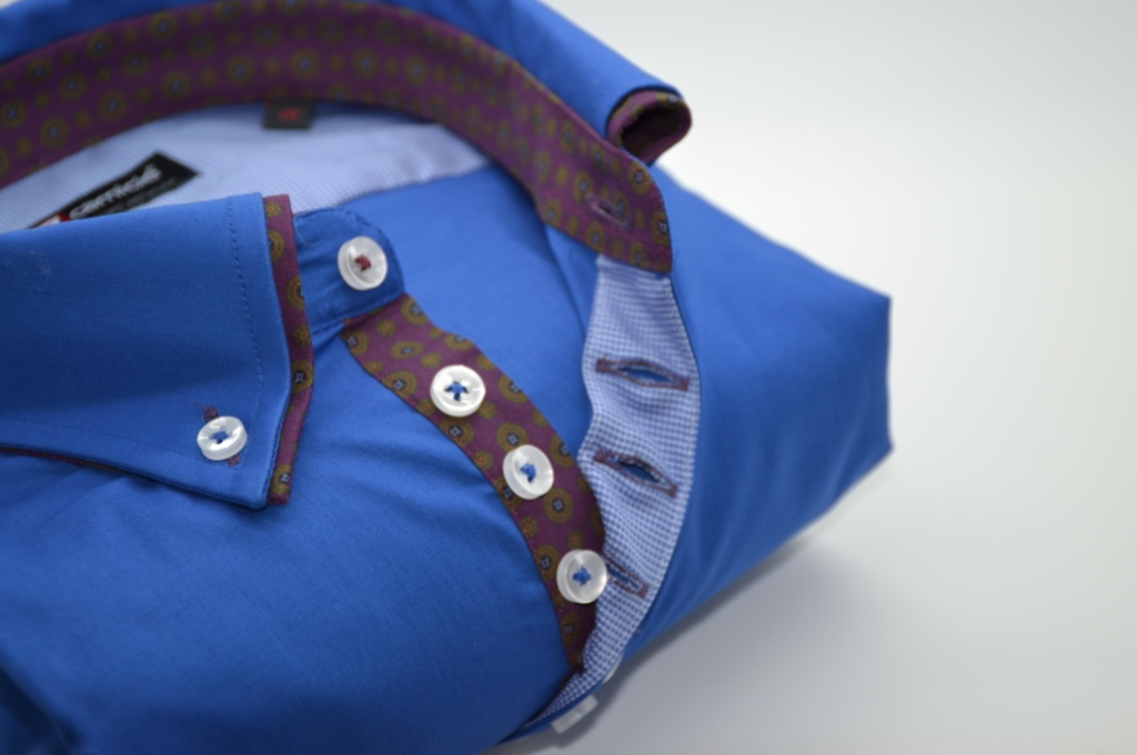 Men's Royal Blue Shirt with Purple Pattern Double Collar | Men's Italian Shirts, Clearance, Double Collar Shirts - 7camicie